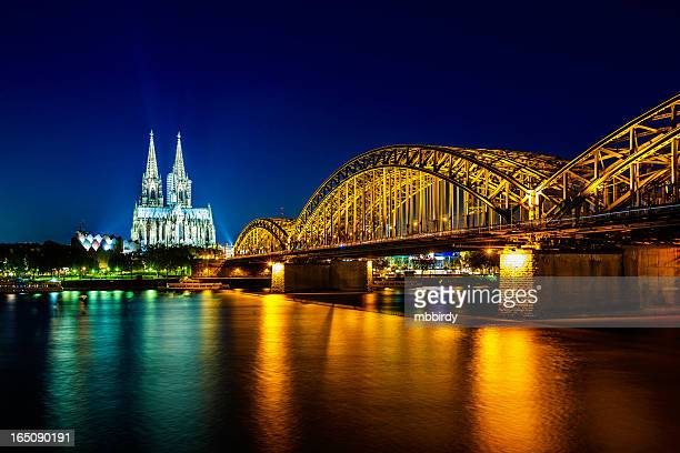 Cologne city panorama by night