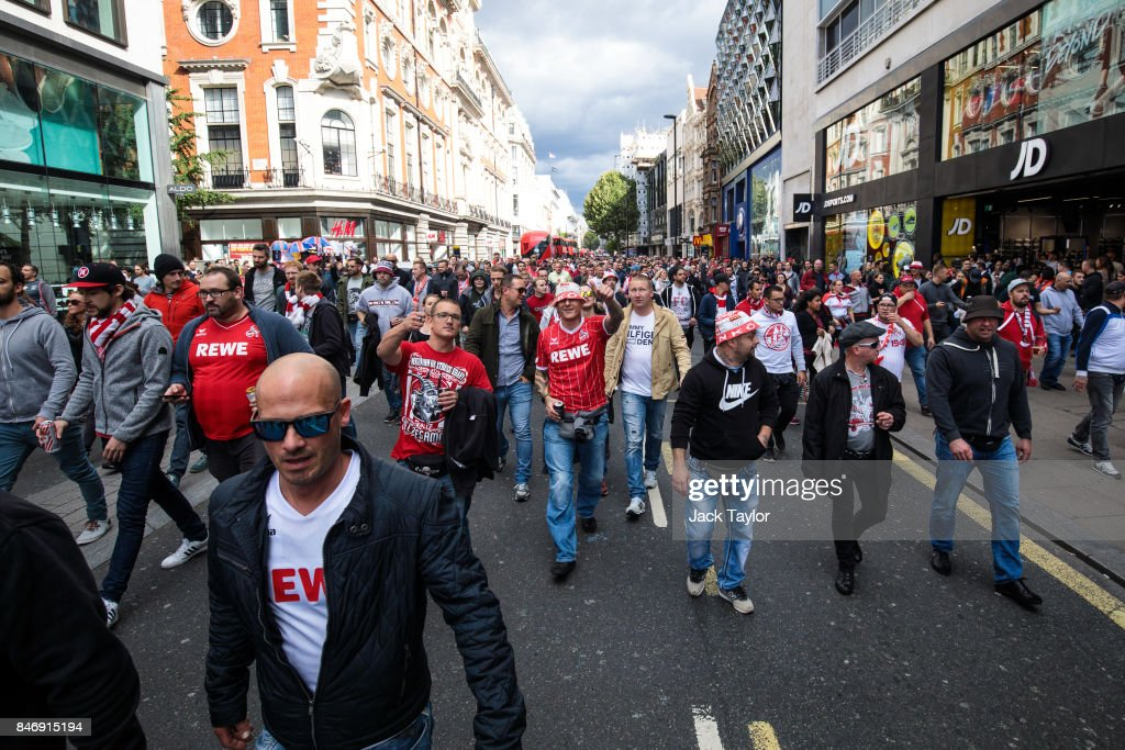 Cologne football fans parade along Oxford Street ahead of the FC Koln match against Arsenal this evening on September 14, 2017 in London, England. Arsenal take on FC Koln at the Emirates Stadium as the London team play their first match of the Europa League.