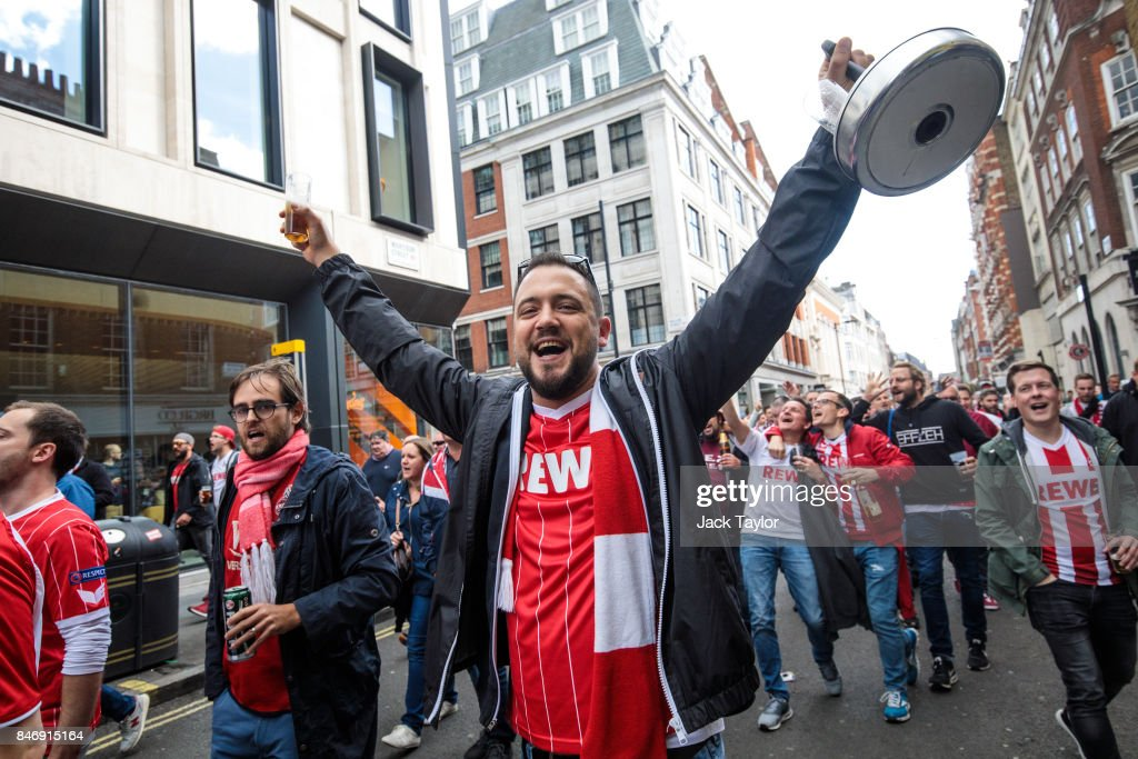 Cologne football fans parade through Soho ahead of the FC Koln match against Arsenal this evening on September 14, 2017 in London, England. Arsenal take on FC Koln at the Emirates Stadium as the London team play their first match of the Europa League.