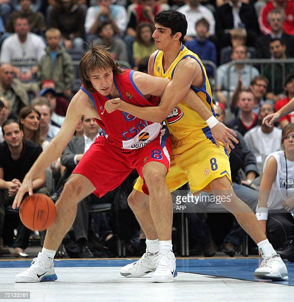 CSKA Moscow's Matjas Smodis vies against Maccabi Tel Aviv's Lioir Elayaho during their NBA Europe Live Tour match 10 October 2006 in Cologne western...