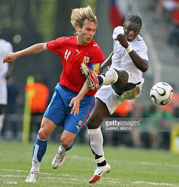 Czech midfielder Pavel Nedved vies with Ghanaian midfielder Otto Addo during the 2006 World Cup Group E football match Czech Republic vs Ghana 17...