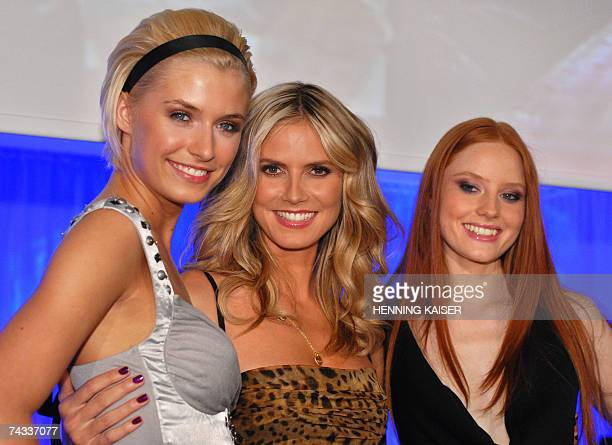 German model Heidi Klum poses for photographers with Barbara the winner of the TV show 'Germany's Next Topmodel' and last year's winner Lena Gercke...