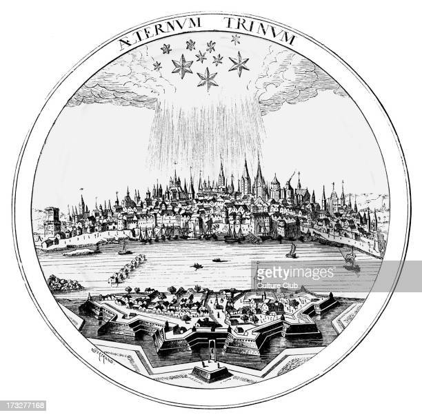 Cologne / Koln in the sixteenth century reproduced from a copper plate in Petrus Bertius' 'Theatrum Geographicum' The caption claims that the three...