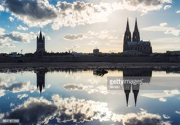 Cologne skyline reflected in the Rhine River, Germany