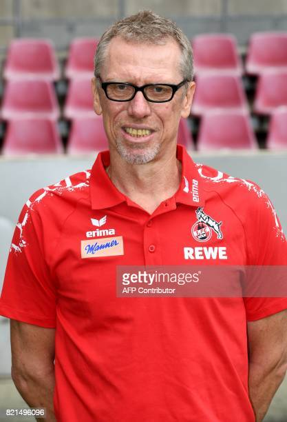 Cologne's Austrian head coach Peter Stoeger poses for a picture during the team presentation of German first division Bundesliga football club 1 FC...