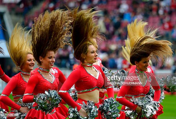 Cologne's cheerleaders perform during the German first division Bundesliga football match between 1 FC Cologne v Bayer 04 Leverkusen in Cologne...