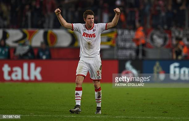 Cologne's defender Dominique Heintz react after the German first division Bundesliga football match 1 FC Cologne vs Borussia Dortmund in Cologne...