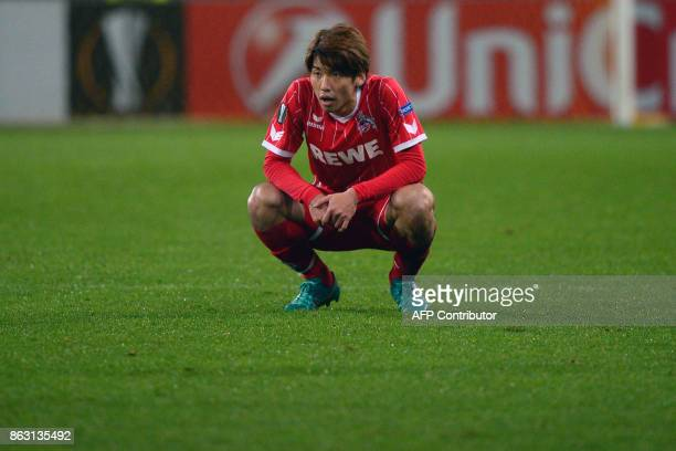 FC Cologne's forward from Japan Yuya Osako reacts after the UEFA Europa League Group H football match between FC BATE Borisov and FC Cologne in...
