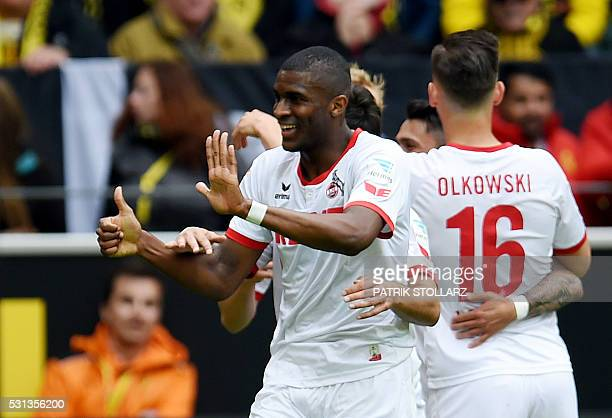 Cologne's French forward Anthony Modeste celebrates scoring during the German first division Bundesliga football match between Borussia Dortmund and...