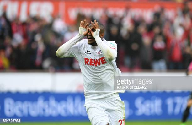 Cologne's French striker Anthony Modeste celebarte after a goal during the German First division Bundesliga football match of FC Cologne vs Hertha...
