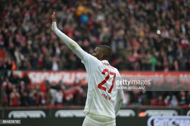 Cologne's French striker Anthony Modeste celebrates during the German first division Bundesliga football match of 1FC Cologne vs Hertha BSC Berlin in...