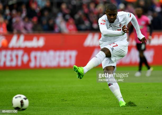 Cologne's French striker Anthony Modeste plays the ball during the German first division Bundesliga football match of 1FC Cologne vs Hertha BSC...