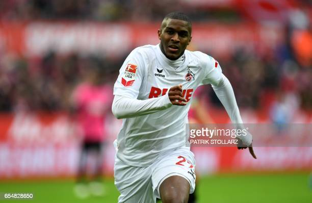 Cologne's French striker Anthony Modeste reacts during the German first division Bundesliga football match of 1FC Cologne vs Hertha BSC Berlin in...