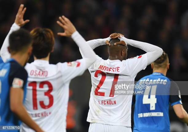 Cologne's French striker Anthony Modeste reacts during the German first division Bundesliga football match of 1FC Cologne vs TSG Hoffenheim in...