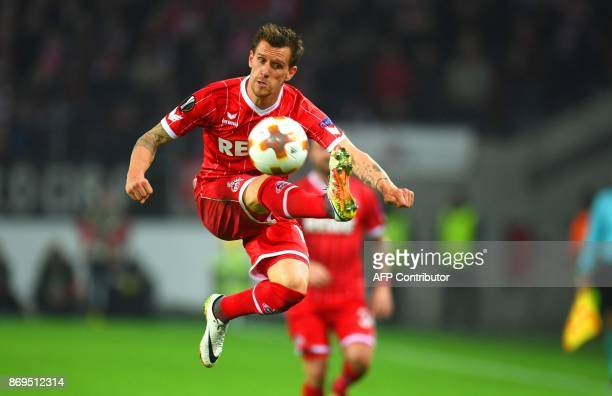 Cologne's German striker Simon Zoller plays the ball during the UEFA Europa League football match between FC BATE Borisov and FC Cologne on November...