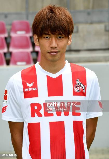 Cologne's Japanese striker Yuya Osako poses for a picture during the team presentation of German first division Bundesliga football club 1 FC Cologne...