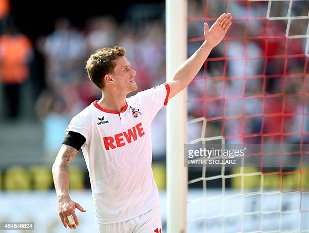 Cologne's striker Simon Zoller reacts during the German first division Bundesliga football match FC Koeln v VfL Wolfsburg on August 22 2015 in...