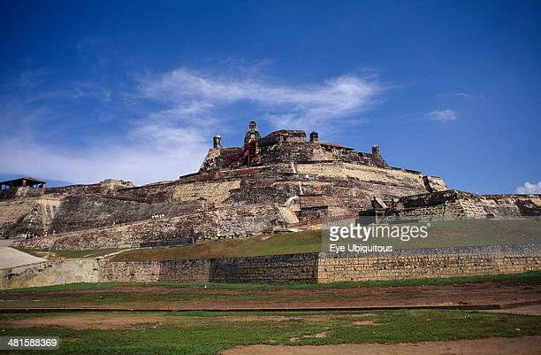 Colombia Cartagena The Castle of San Felipe de Barajas with steep sided walls and crenellated battlements