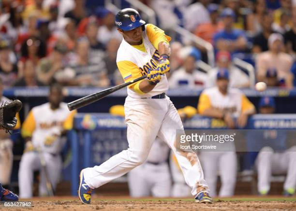 Colombia catcher Jorge Alfaro homer during the World Baseball Classic 1st Round Pool C game between the Dominican Republic and Colombia at Marlins...