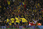 Colombia celebrate scoring during the International Friendly between the USA and Colombia at Craven Cottage on November 14 2014 in London England