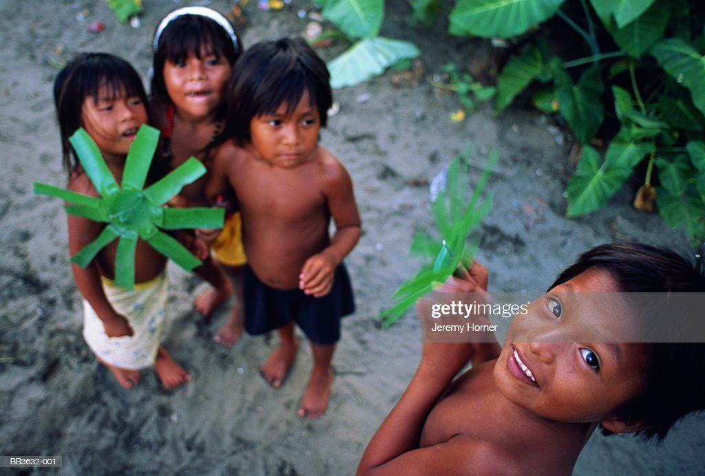 Colombia, Choco, near Nuqui, portrait of young children