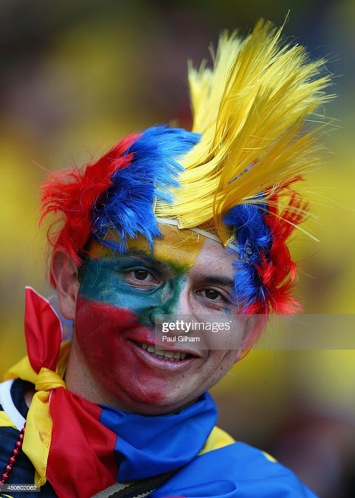 A Colombia fan enjoys the atmosphere prior to the 2014 FIFA World Cup Brazil Group C match between Colombia and Greece at Estadio Mineirao on June 14, 2014 in Belo Horizonte, Brazil.