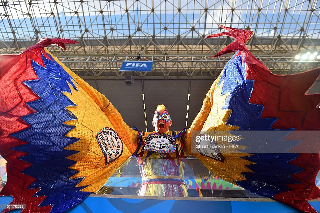 A Colombia fan enjoys the atmosphere prior to the 2014 FIFA World Cup Brazil Group C match between Japan and Colombia at Arena Pantanal on June 24, 2014 in Cuiaba, Brazil.