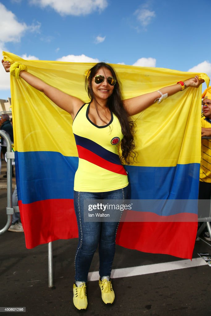 A Colombia fan holds a flag prior to the 2014 FIFA World Cup Brazil Group C match between Colombia and Greece at Estadio Mineirao on June 14, 2014 in Belo Horizonte, Brazil.