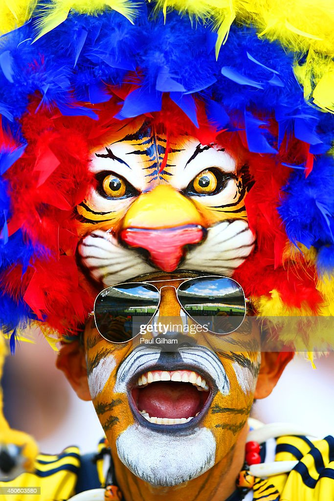A Colombia fan shows support prior to the 2014 FIFA World Cup Brazil Group C match between Colombia and Greece at Estadio Mineirao on June 14, 2014 in Belo Horizonte, Brazil.