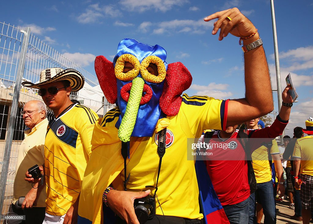 A Colombia fan wearing a Marimonda mask enjoys the atmosphere prior to the 2014 FIFA World Cup Brazil Group C match between Colombia and Greece at Estadio Mineirao on June 14, 2014 in Belo Horizonte, Brazil.