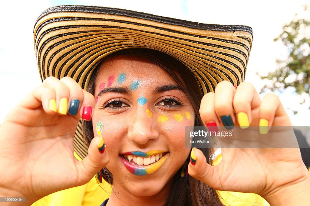 A Colombia fan with a painted face enjoys the atmosphere prior to the 2014 FIFA World Cup Brazil Group C match between Colombia and Greece at Estadio Mineirao on June 14, 2014 in Belo Horizonte, Brazil.