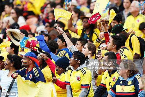 Colombia fans cheer during the FIFA U20 World Cup New Zealand 2015 Group C match between Qatar and Colombia held at Waikato Stadium on May 31 2015 in...