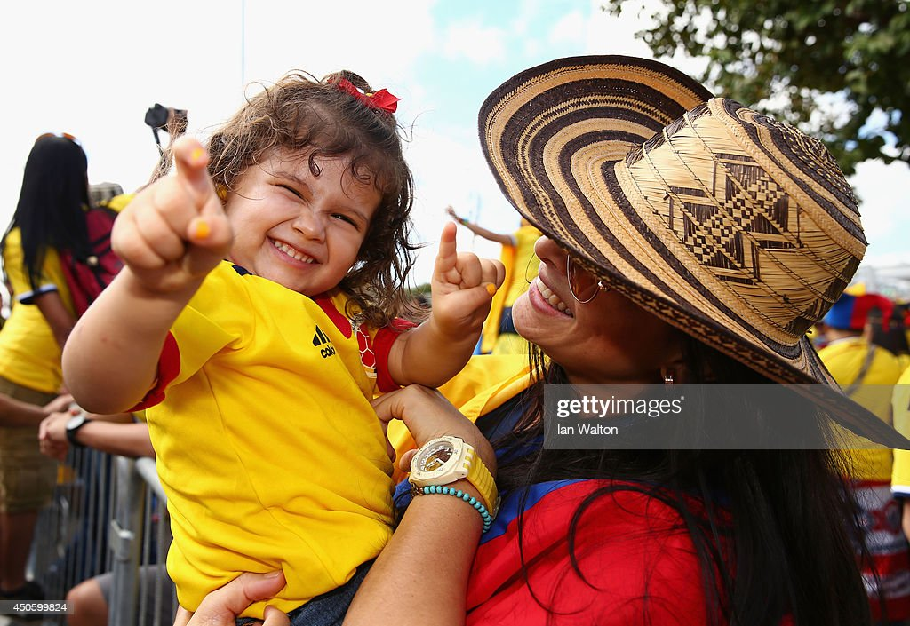 Colombia fans enjoy the atmosphere prior to the 2014 FIFA World Cup Brazil Group C match between Colombia and Greece at Estadio Mineirao on June 14, 2014 in Belo Horizonte, Brazil.