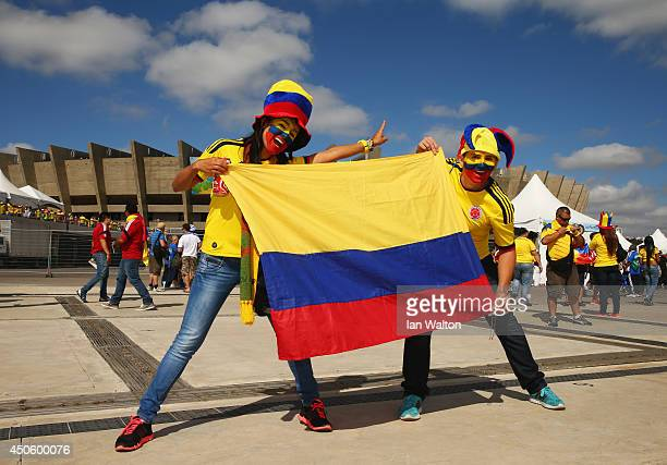 Colombia fans enjoy the atmosphere prior to the 2014 FIFA World Cup Brazil Group C match between Colombia and Greece at Estadio Mineirao on June 14...