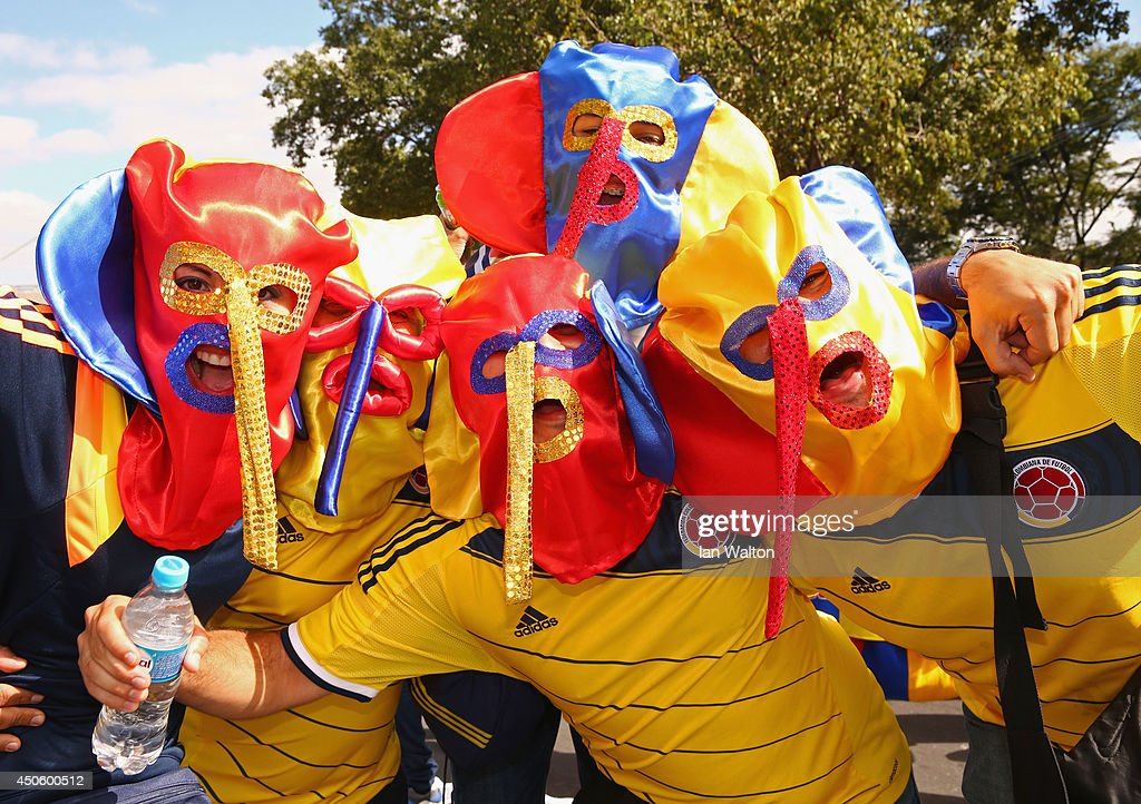 Colombia fans enjoys the atmosphere whilst wearing Marimonda masks prior to the 2014 FIFA World Cup Brazil Group C match between Colombia and Greece at Estadio Mineirao on June 14, 2014 in Belo Horizonte, Brazil.