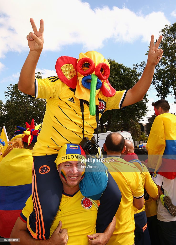 Colombia fans wearing Marimonda masks enjoy the atmosphere prior to the 2014 FIFA World Cup Brazil Group C match between Colombia and Greece at Estadio Mineirao on June 14, 2014 in Belo Horizonte, Brazil.