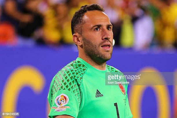 Colombia goalkeeper David Ospina celebrates after stopping Peru defender Miguel Trauco on a penalty kick during the 2016 Copa America Centinario...