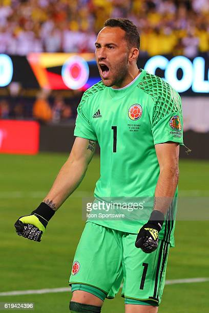 Colombia goalkeeper David Ospina reacts after saving a penalty kick from Peru defender Miguel Trauco during the 2016 Copa America Centinario...