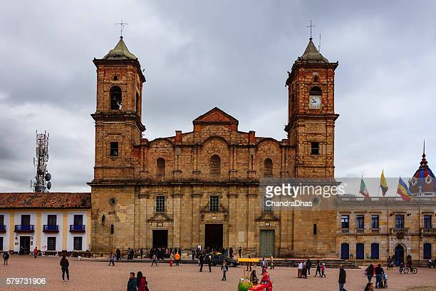 Colombia - historic Zipaquira town square, church and people