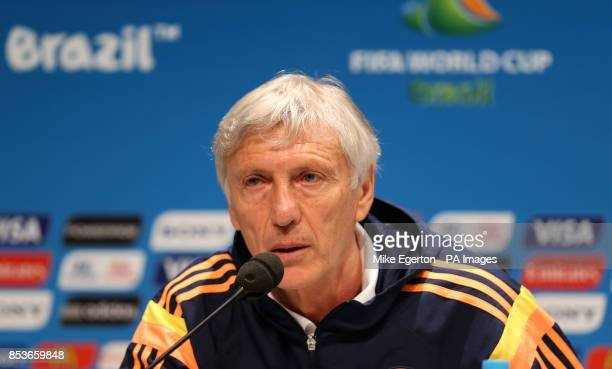 Colombia manager Jose Pekerman during the press conference at the Estadio do Maracana Rio de Janeiro Brazil