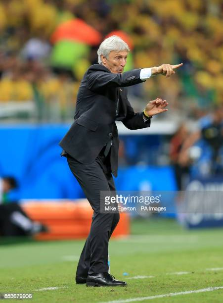 Colombia manager Jose Pekerman gestures from the touchline during the quarter final match at the Estadio Castelao Fortaleza