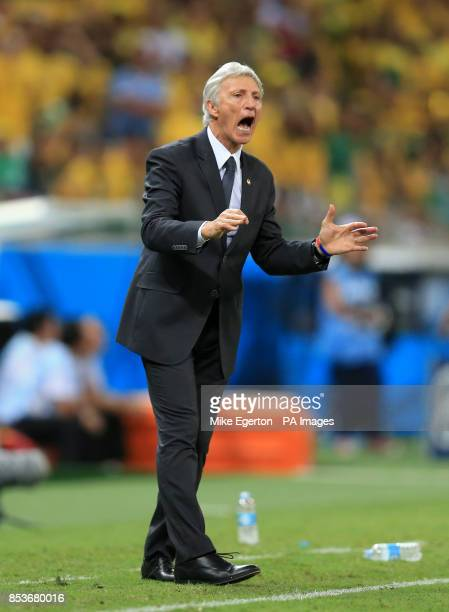 Colombia manager Jose Pekerman gestures on the touchline during the quarter final match at the Estadio Castelao Fortaleza