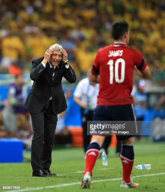 Colombia manager Jose Pekerman gestures towards Colombia's James Rodriguez during the quarter final match at the Estadio Castelao Fortaleza