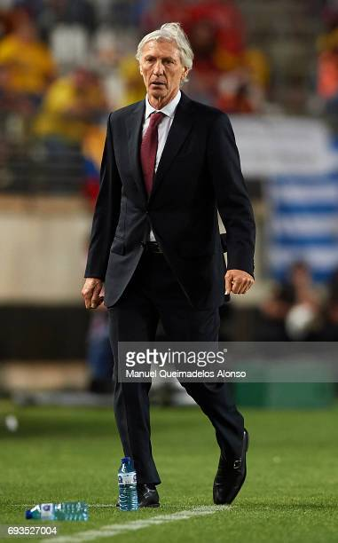 Colombia manager Jose Pekerman looks on during the international friendly match between Spain and Colombia at Nueva Condomina Stadium on June 7 2017...