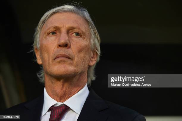 Colombia manager Jose Pekerman looks on prior to the international friendly match between Spain and Colombia at Nueva Condomina Stadium on June 7...