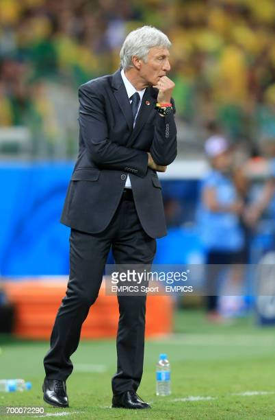 Colombia manager Jose Pekerman on the touchline during the quarter final match at the Estadio Castelao Fortaleza