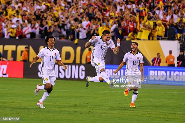 Colombia midfielder Dayro Moreno Colombia midfielder Juan Cuadrado and Colombia midfielder Sebastian Perez celebrate after winning the 2016 Copa...