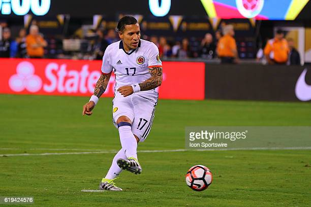 Colombia midfielder Dayro Moreno takes his penalty kick during the 2016 Copa America Centinario Quarterfinal game between Columbia and Peru in...