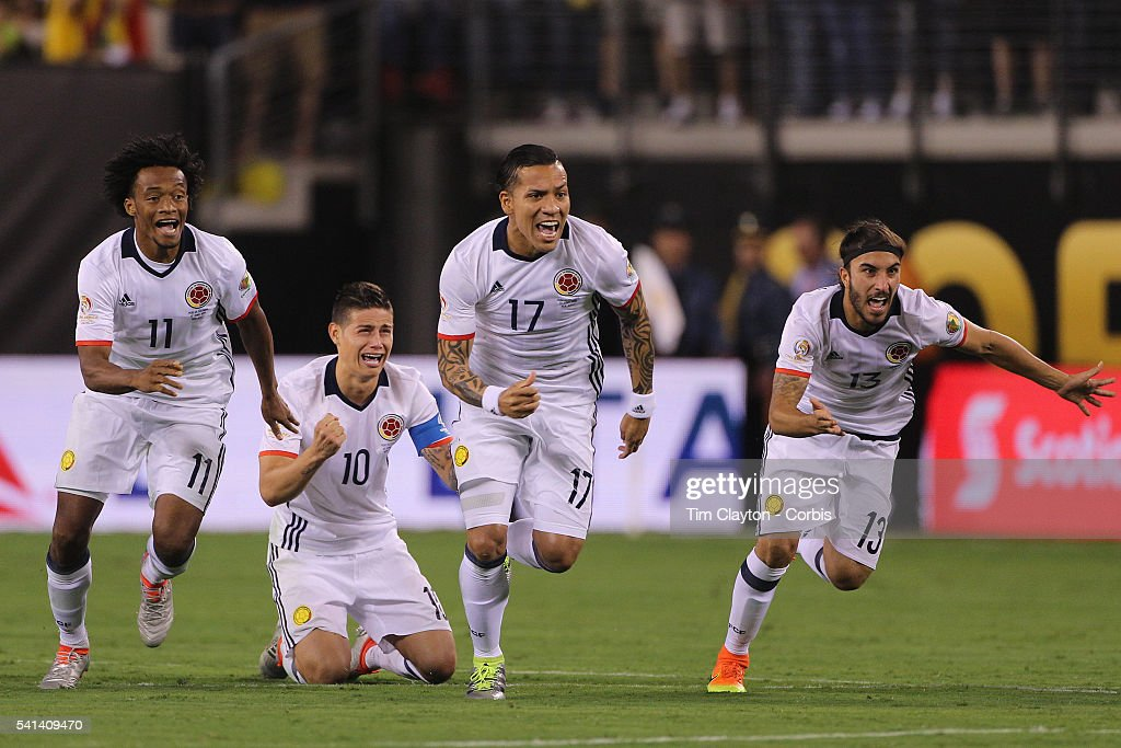 Colombia players react to Peru's final penalty miss to win the penalty shoot out players, from left, Juan Cuadrado #11, <a gi-track='captionPersonalityLinkClicked' href=/galleries/search?phrase=James+Rodriguez&family=editorial&specificpeople=4422074 ng-click='$event.stopPropagation()'>James Rodriguez</a> #10, Dayro Moreno #17 and Sebastian Perez #13 of Colombia during the Colombia Vs Peru Quarterfinal match of the Copa America Centenario USA 2016 Tournament at MetLife Stadium on June 17, 2016 in East Rutherford, New Jersey.