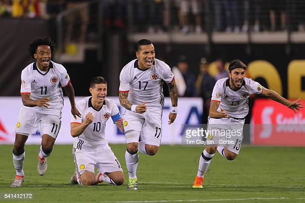 Colombia players react to Peru's final penalty miss to win the penalty shoot out from left Juan Cuadrado James Rodriguez Dayro Moreno and Sebastian...
